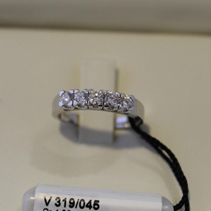Anello solitario RECARLO in oro bianco e diamanti 0,155 ct.  ref.DIF035015
