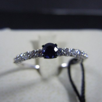 Anello 5 pietre RECARLO in oro bianco e diamanti 0,55 ct.  ref.XB010055