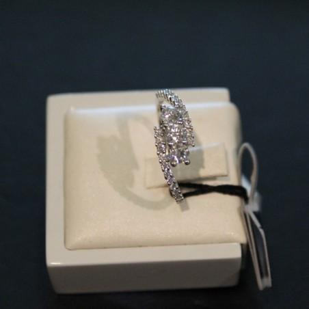 ANELLO Novelli oro giallo con diamanti e smeraldo 0,27 ct.