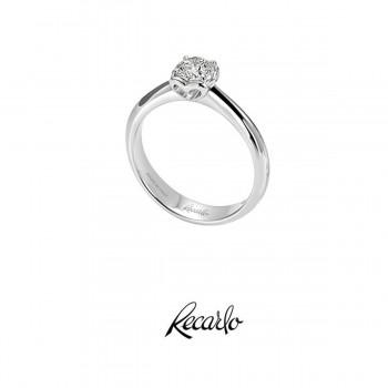 Anello Solitario Recarlo Collezione Anniversary In Oro Bianco E Diamanti Ct.0,47 Colore G Si Xb730 /047
