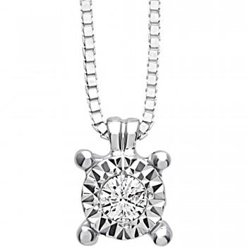 Anello solitario RECARLO in oro bianco e diamanti taglio brillante ct.0,18 colore F SI.